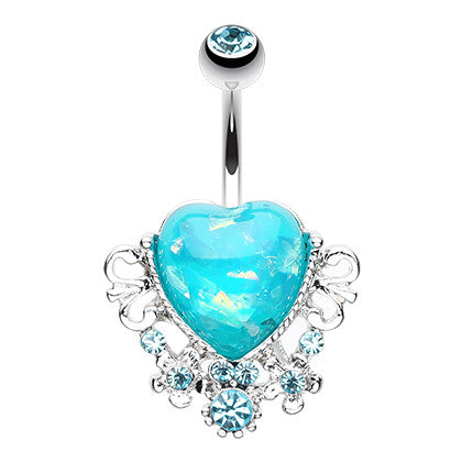 Fixed (non-dangle) Belly Bar. Belly Rings Australia. Vintage Ocean Romance Belly Piercing Ring