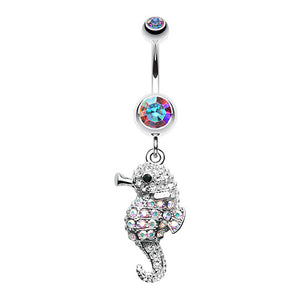 Glittered Baby Seahorse Belly Bar - Dangling Belly Ring. Navel Rings Australia.