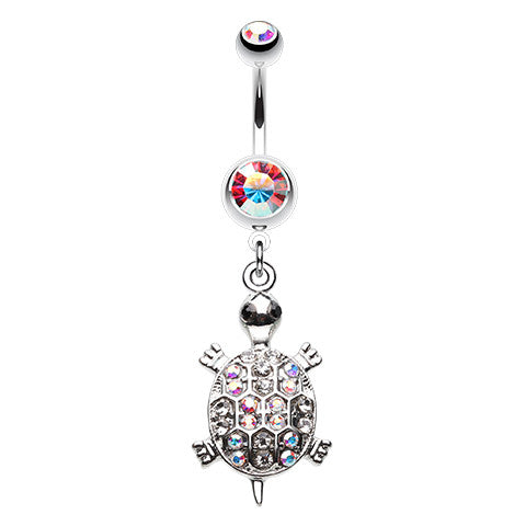 Tropics Aurora Shell Turtle Belly Bar - Dangling Belly Ring. Navel Rings Australia.