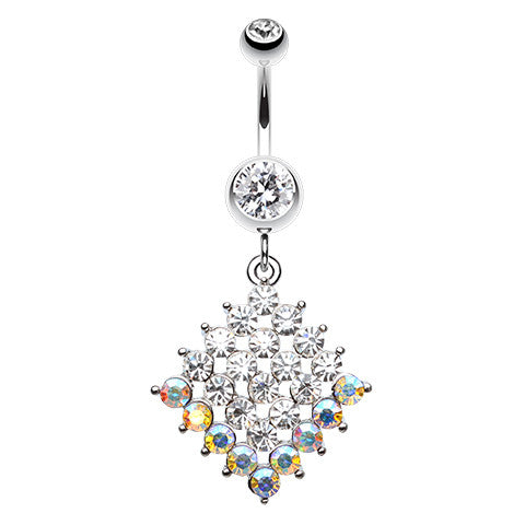 Aurora Tipped Diamond Navel Ring - Dangling Belly Ring. Navel Rings Australia.