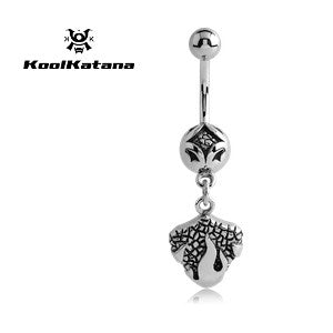Dangling Belly Ring. Quality Belly Rings. Authentic KoolKatana Fireball Navel Bar