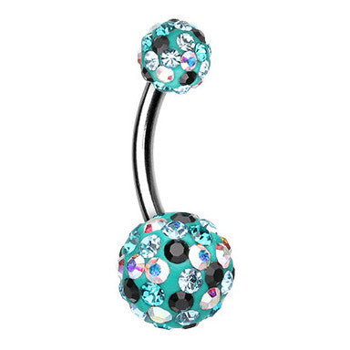 Basic Curved Barbell. Cute Belly Rings. Teal Retro Motley Belly Button Ring