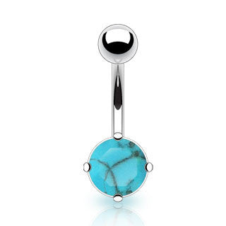 Basic Curved Barbell. Quality Belly Bars. Turquoise Gem Belly Piercings