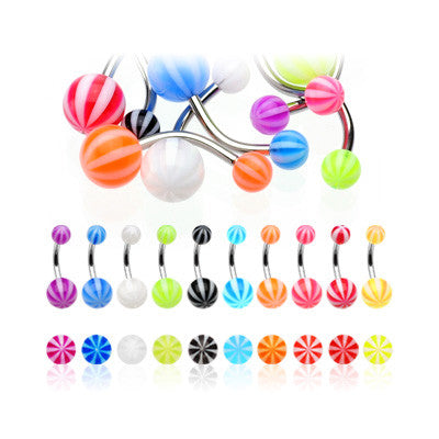 Beach Ball Acrylic Belly Bars - Basic Curved Barbell. Navel Rings Australia.