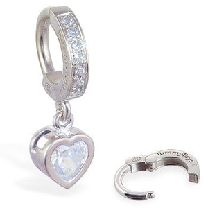 TummyToys® Paved Silver Heart Bezel Set - TummyToys® Patented Clasp. Navel Rings Australia.
