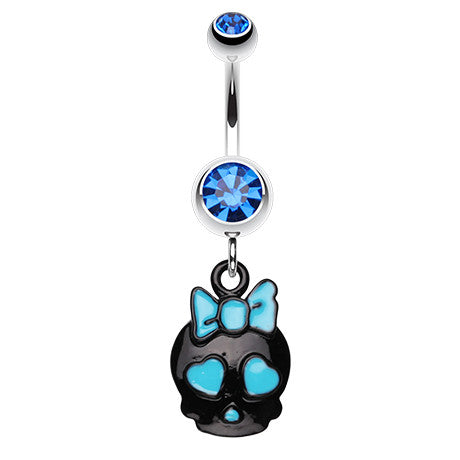 Dangling Belly Ring. Navel Rings Australia. Baby Blue Sugar Skull Belly Piercing