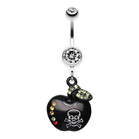 Dangling Belly Ring. Navel Rings Australia. Jeweled Poisoned Apple Navel Bar