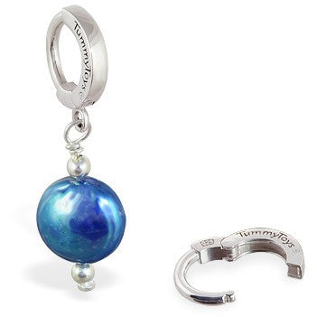 TummyToys® Blue Freshwater Coin Pearl - TummyToys® Patented Clasp. Navel Rings Australia.