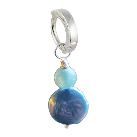 TummyToys® Patented Clasp. High End Belly Rings. Saltwater Frosted Agate and Blue Pearl