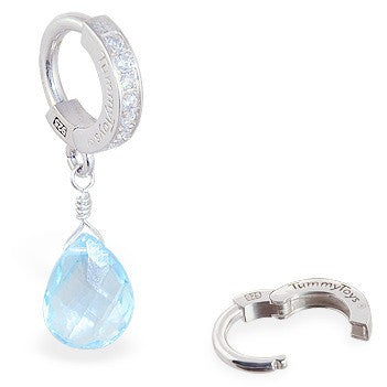 TummyToys® Patented Clasp. Cute Belly Rings. TummyToys® Blue Topaz on Clear CZ Paved Clasp