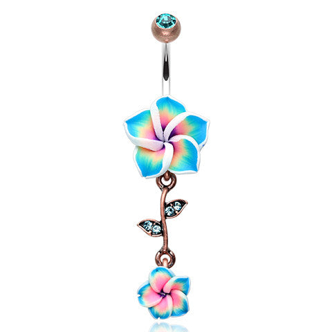 Maui Boho Frangipani Navel Bar - Dangling Belly Ring. Navel Rings Australia.