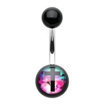 Basic Curved Barbell. High End Belly Rings. Aurora Cross Acrylic Belly Ring