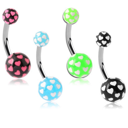 Love Pop Acrylic Belly Button Rings - Basic Curved Barbell. Navel Rings Australia.