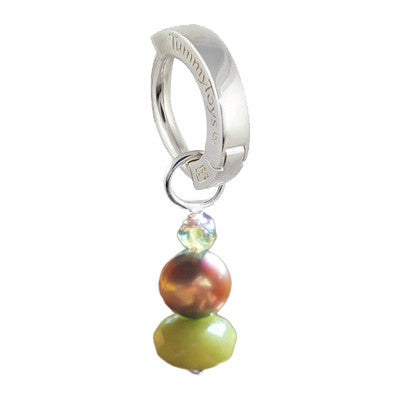 TummyToys® Patented Clasp. Quality Belly Bars. Saltwater Silver Brown Pearl with Peridot