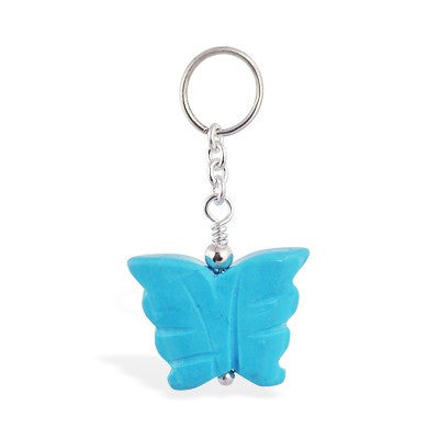 TummyToys® Turquoise Butterfly Belly Bar Swinger - TummyToys® Swinger Charm. Navel Rings Australia.