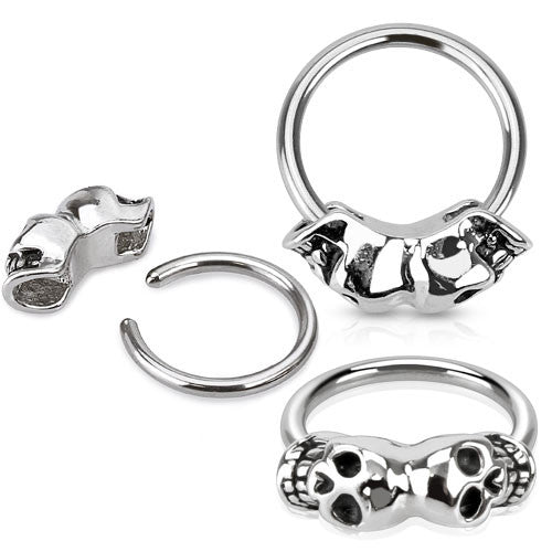 Double Skull Captive Belly Jewellery - Captive Belly Ring. Navel Rings Australia.