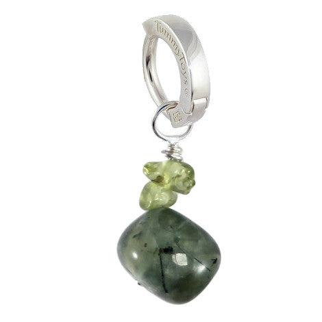 TummyToys® Patented Clasp. Navel Rings Australia. Saltwater Silver Prehnite with Peridot
