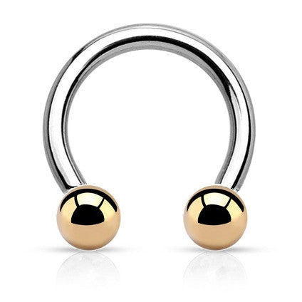 Basic Horseshoe Navel Ring with Gold Balls - Circular Barbell / Horse Shoe. Navel Rings Australia.