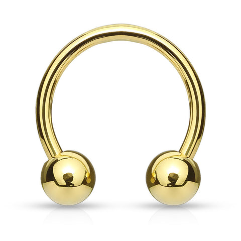 Circular Barbell / Horse Shoe. Quality Belly Rings. Gold Plated Horse Shoe Navel Bar