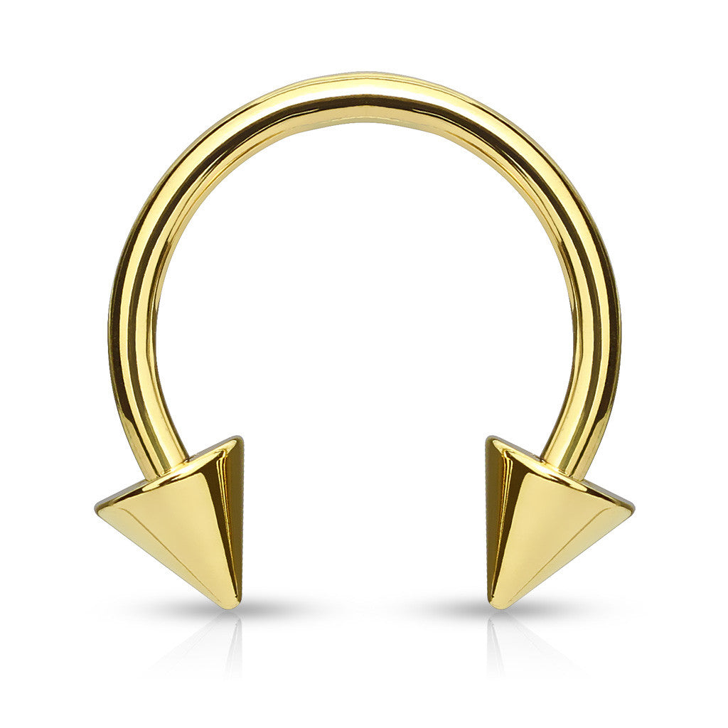 1 x Gold Plated Horseshoe with Spikes Circular Barbell Ring Body Jewellery