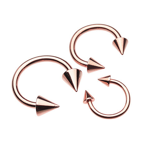 Circular Barbell / Horse Shoe. High End Belly Rings. Rose Gold Spiked Horse Shoe Navel Piercing Bar