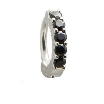 TummyToys® Solid 925 Silver Huggy with Black Diamante - TummyToys® Patented Clasp. Navel Rings Australia.