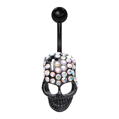 Hardcore Jeweled Blackline Skull - Fixed (non-dangle) Belly Bar. Navel Rings Australia.