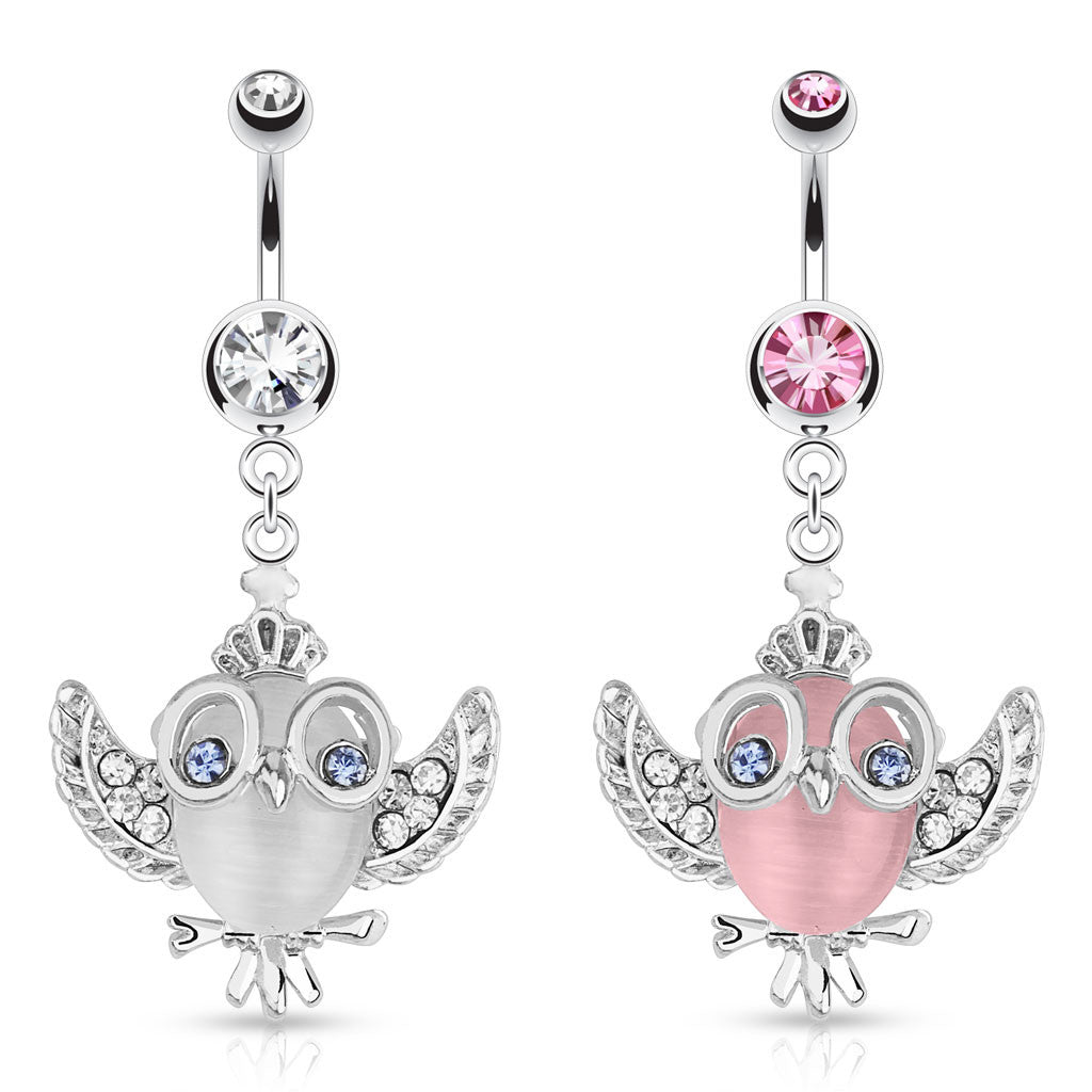 Cute Cats Eye Owl Belly Ring - Dangling Belly Ring. Navel Rings Australia.