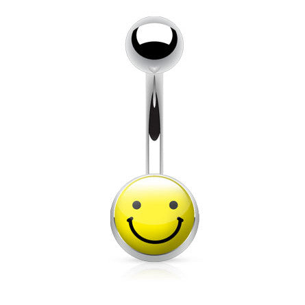 Smiley Face Emoji Navel Piercing Bars - Basic Curved Barbell. Navel Rings Australia.