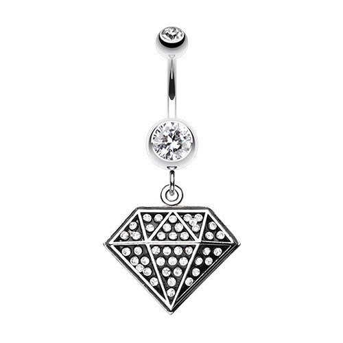 Geometric Glitter Urban Belly Piercing Ring - Dangling Belly Ring. Navel Rings Australia.