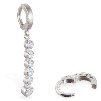 TummyToys® Clear CZ Journey Navel Bar - TummyToys® Patented Clasp. Navel Rings Australia.