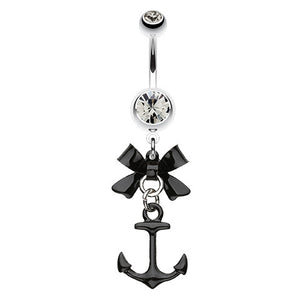 Smokey Black Anchor Navel Bar - Dangling Belly Ring. Navel Rings Australia.