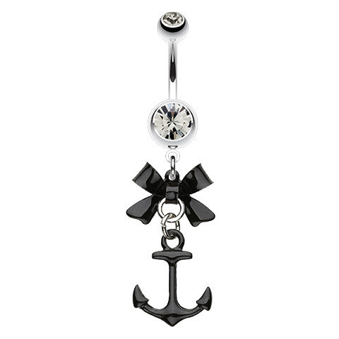 Dangling Belly Ring. Quality Belly Bars. Smokey Black Anchor Navel Bar