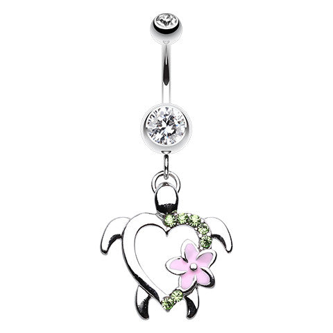 Dangling Belly Ring. Belly Bars Australia. Honu Sea Turtle Belly Piercing