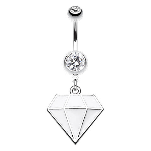 Frosted Urban Prism Belly Dangle - Dangling Belly Ring. Navel Rings Australia.