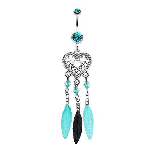 Feathered Heart Dream Catcher Navel Ring - Dangling Belly Ring. Navel Rings Australia.