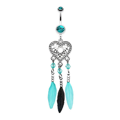 Dangling Belly Ring. Belly Rings Australia. Feathered Heart Dream Catcher Navel Piercing Bar