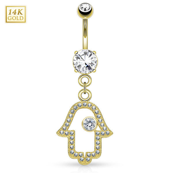 Micro Paved Hamsa 14K Gold Belly Button Bar - Dangling Belly Ring. Navel Rings Australia.