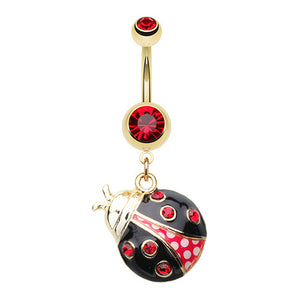 Golden Lady Bug Belly Piercing Ring - Dangling Belly Ring. Navel Rings Australia.