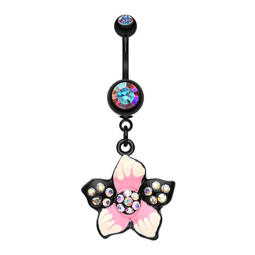 Blackline Hawaiian Luau Flower Belly Piercing Ring - Dangling Belly Ring. Navel Rings Australia.