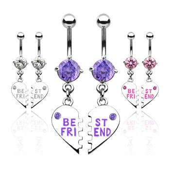 My BFF Best Friend Belly Ring Set - Dangling Belly Ring. Navel Rings Australia.