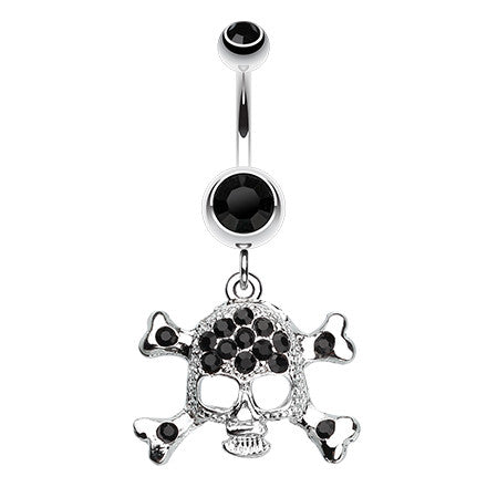 Dangling Belly Ring. Buy Belly Rings. The Doomed Skull Navel Bar Dangle
