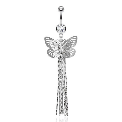 Dangling Belly Ring. High End Belly Rings. Double Layer Butterfly Dangle Belly Ring