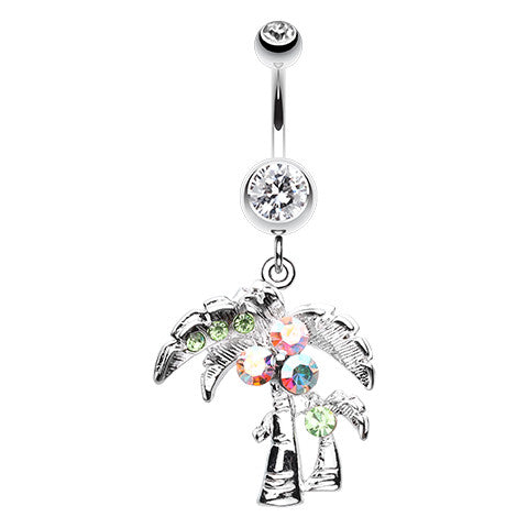 Cancun Palm Oasis Belly Bar - Dangling Belly Ring. Navel Rings Australia.