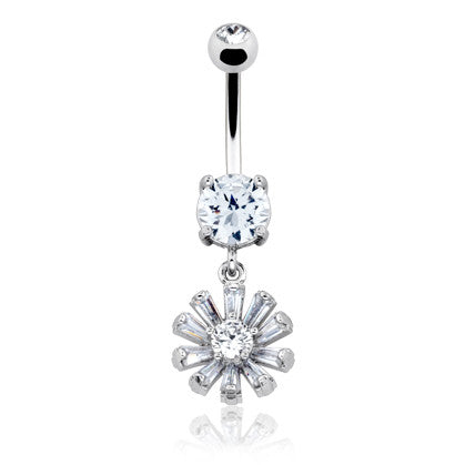 Celestial Diamante Navel Bar - Dangling Belly Ring. Navel Rings Australia.