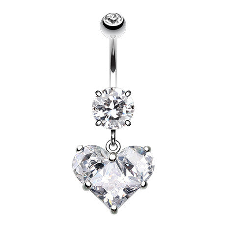Crystallised Romance Heart Belly Ring - Dangling Belly Ring. Navel Rings Australia.