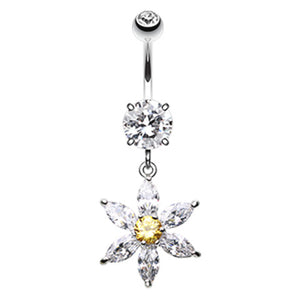 Floral Jewels Belly Button Ring - Dangling Belly Ring. Navel Rings Australia.