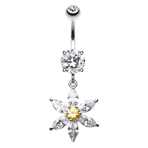 Dangling Belly Ring. Navel Rings Australia. Floral Jewels Belly Button Ring