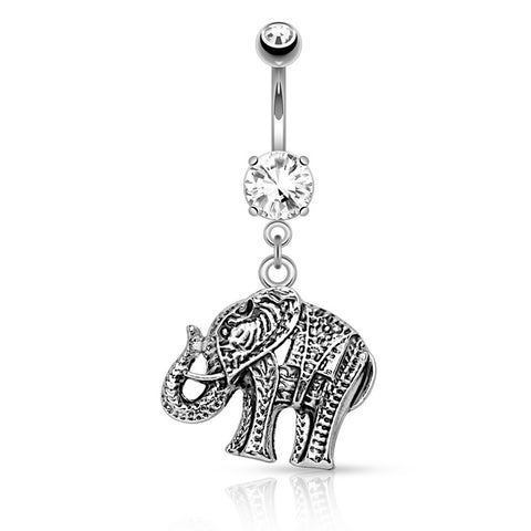 Dangling Belly Ring. Cute Belly Rings. Bali Safari Elephant Belly Piercing Ring
