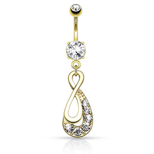 Yellow Gold Gem Infinity Belly Piercing Ring - Dangling Belly Ring. Navel Rings Australia.
